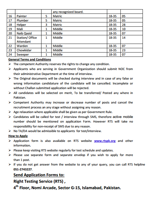 Talent Research Development Authority - Right Testing Service Jobs Ad2